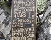 Wood Sign, Cabin Rules, Cabin Decor, Personalized, Handmade, Subway, Word Art