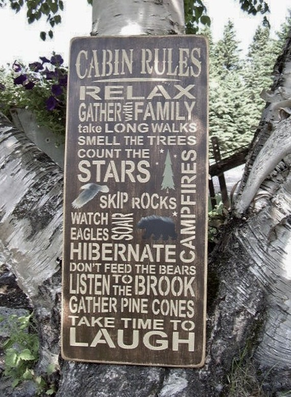 wood sign cabin rules cabin decor personalized