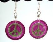 Purple peace sign earrings  - purple and green glitter resin peace sign earrings - glitter resin earrings by Sparkle City Jewelry