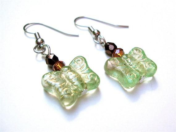 Light green butterfly earrings, sterling silver - summer earrings by Sparkle City Jewelry