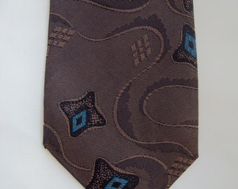 David Lawerence Tie Italian Silk Brown and Turquoise Mid width Mens tie Vintage in good vintage condition