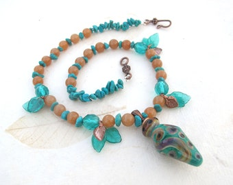 Turquoise and Aventurine Necklace with Focal Bead