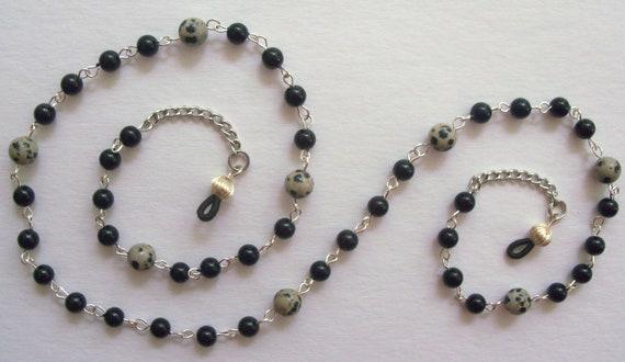 EYEGLASS CHAIN, Dalmatian Jasper, Crystazzi Glass Pearls, Silver Plated, Handmade,