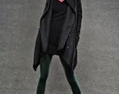 Black Winter Pea Coat - Wrap Around Short Hooded Womens Coat with Asymmetrical Hem (C038)