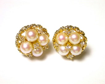 Vintage Earrings - 14k Yellow Gold Pearl and Diamonds Pierced Earrings - Post Back - Weight 3.8 Grams - Rope Design Frame # 82