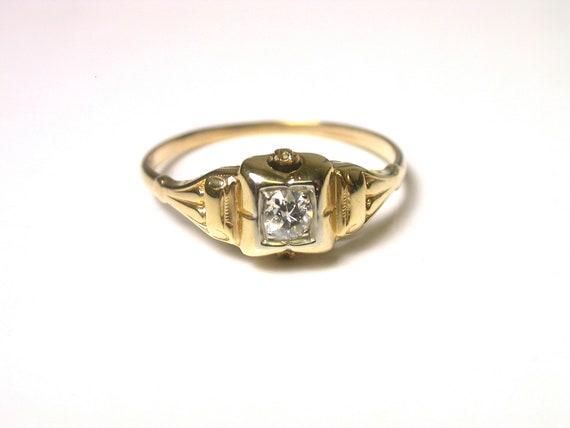 Vintage 14k Yellow Gold Vintage Diamond Engagement Ring - Size 7 1/4 - Weight 1.3 Grams - Promise Ring - Wedding