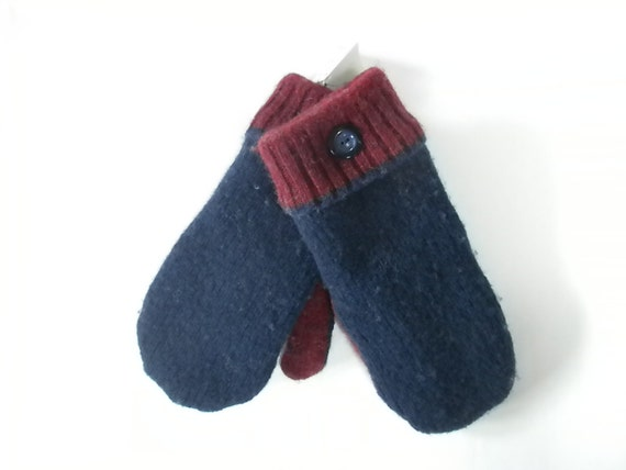 Felted Wool Mittens with Fleece Lining from Recycled Wool Sweaters