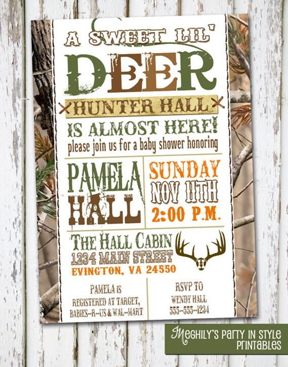 hunting theme sweet lil 39 deer baby shower invitation