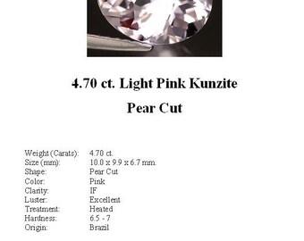 KUNZITE - Absolutely Stunning 4.70 ct. Pale, Pale Pink Kunzite in a Teardrop/Pear Cut...