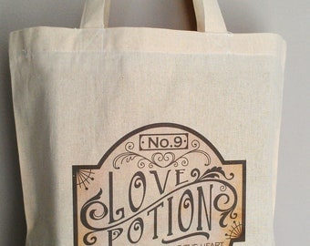 Love Potion No 9 Tote Bag Apothecary Label Purse Book Bag