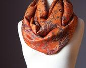 Orange Infinity Scarf ,  pashmina , burnt orange,  grey  , infinity scarves, Reversible Pashmina Wrap