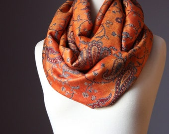 Orange Infinity Scarf ,  pashmina , burnt orange,  grey  , infinity scarves, Reversible Pashmina Wrap