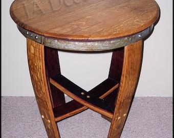 Barrel Head and stave end table - Elegant Wine Barrel side table