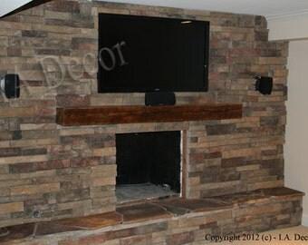 "Barnwood Mantle Beam - 6"" x 6"" x 48"" Mantle ready to install - Reclaimed Wood shelf"