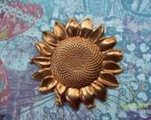 1 Huge Vintage Red Brass Patina Sunflower  Stamping    ...  t-37