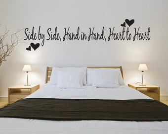 Side by Side Hand Love Heart Wall Quote Art Decal Decor (v92)