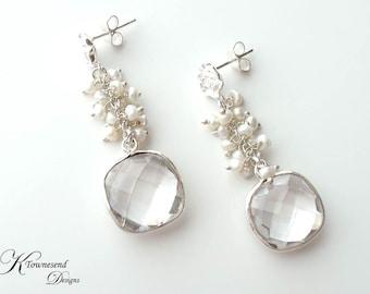 Clear Quartz Bezel Earrings, Freshwater Pearl Earrings, Bridal Jewelry Wedding Jewelry, Sterling Silver Flower Post