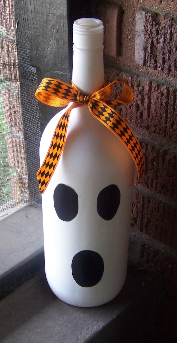 Halloween Ghost Glass Bottle Decor, Upcycled Home Decor, Ghost, Fun Halloween