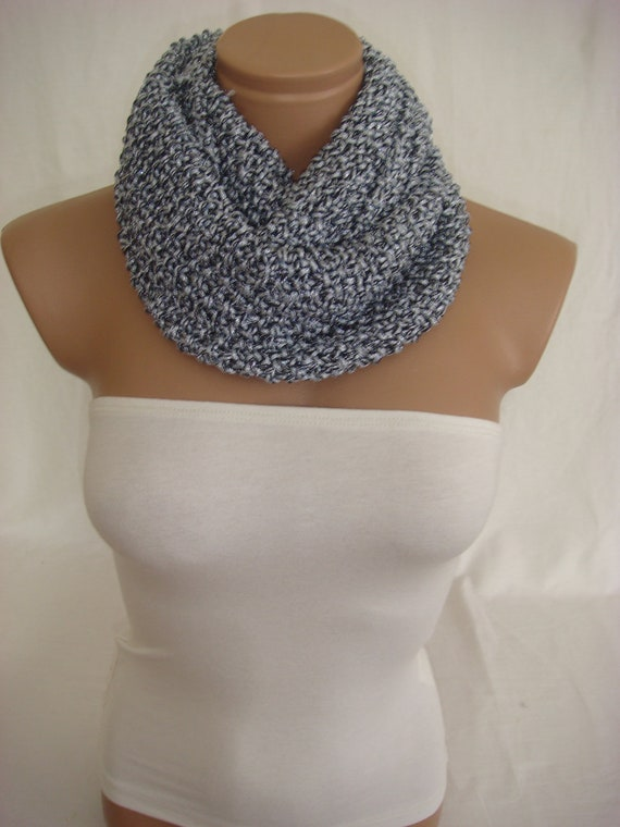 Knitted Silver Gray and Black Elegant Strechy Scarf by Arzu's Style
