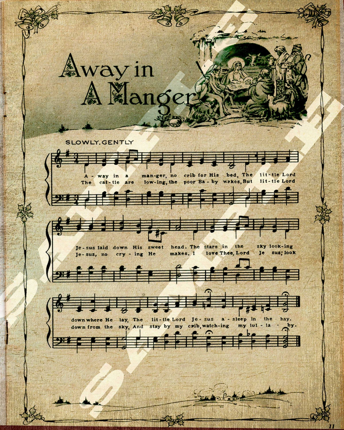Christmas Carolers Singers Vintage Decorations By: Away In A Manger Christmas Carol HolidaySheet Music Instant