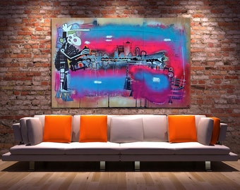 P.I.K.L - Large Original Abstract Painting on Wood Panels