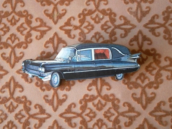 Hearse Brooch Wooden Gothic Jewellery Pin Badge