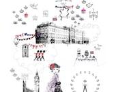London Jubilee Celebration - Illustration Art Print