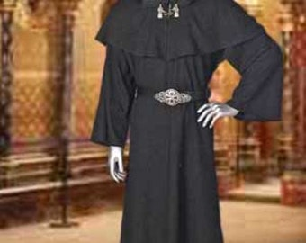 Medieval Wicca Pagan Ritual Robe with Hood Handmade Natural Cotton