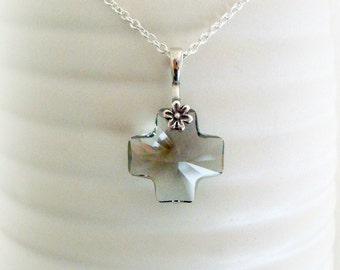 Black Swarovski Crystal cross - Handmade Womens Necklace - Swarovski Crystal Necklace - Black Crystal Cross - Black Glass Pendant