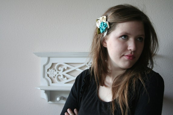 Flower hair clip // Ivory Yellow and Teal Hand Made Flowers with Velvet Leaves on a Metal Clip