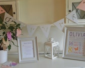 Personalised Christening Decorations - Birth Print, Bunting, Wish Poem, Wish Tags