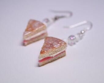 Victoria Sponge Cake Slice Earrings, Fimo, Polymer Clay