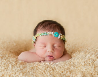 Newborn Headband Halo Style Blue Yellow Green with Button Photography Prop