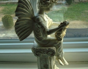 "REDUCED Vintage Garden Angel Statue, Large 18"", Perfect Condition [B]"