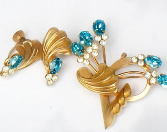 Art Deco Blue Brooch and Earrings Set Juliana Style Flower Jewelry Demi Parure Set Rhinestone Collectible Jewelry Gift Idea For Women