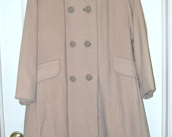 Mink Collar - Beige Wool Coat - 3/4 Lengths Sleeves  - 1960s