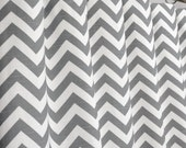 Ash Gray White Chevron Zig Zag Curtains - Rod Pocket - 84 96 108 or 120 Long by 25 or 50 Wide - Optional Blackout or Cotton Lining