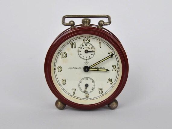 Beautiful 1940s German mechanical alarm clock from Junghans. Cranberry. Germany.  WWII Era.