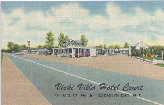 BIG SALE - SALE Vicki Villa Hotel Court, Elizabeth City, North Carolina, Vintage Linen Postcard, Unused, 1930s or 1940s