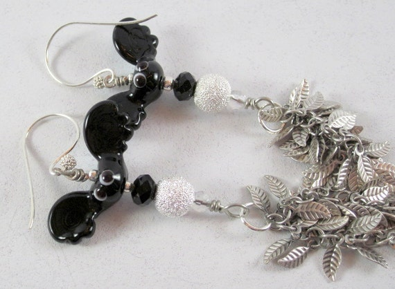 Black and White Halloween Bat Lampwork Earrings, Contemporary Holiday Jewelry, Gifts, Fashion Accessories, Casual Wear