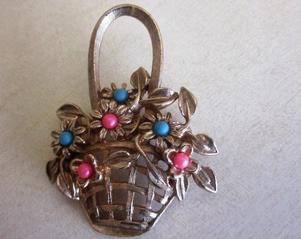 Vintage Woven EASTER BASKET of Pink and Blue Flowers Brooch in Gold Finish