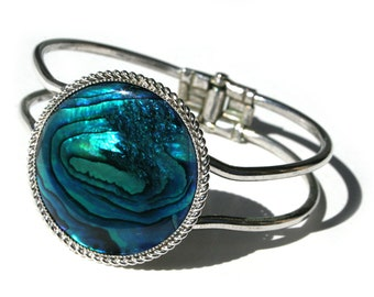 Hinged Cuff Bracelet Blue Abalone Sea Shell Silver Tone Metal Cuff Bracelet Mermaid Tears Ocean Waves in Iridescent Blue Green Purple Black