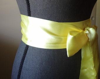 Satin Sash belt Yellow bridal