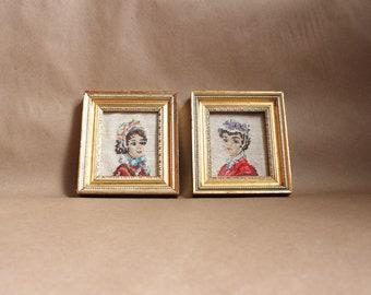 Vintage Needlepoint Framed Artwork- Set of Two Women in Gold Frames