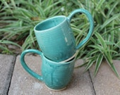 Set of 2 Green Mugs with Detailed Handles, Cone 6 Glaze