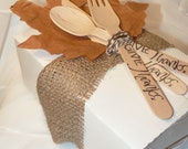 FALL PiCiNiC LunchBoX  -4 cutlery SETS PapER LeaVeS - Hand Stamped  Wood Cutlery AnD The LUNCHBOXS
