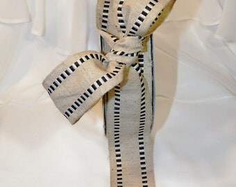 "BURLAP RIBBON with StRipeD BlacK and White CheckEd TriM - 3 Yards by 1&1/2"" wide -VinTaGe FaNcY BurLap Ribbon ,Packages, Homemade Gifts"