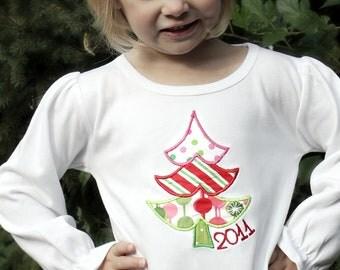 Personalized Whimsical Christmas Tree Ruffled Shirt