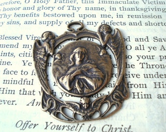 Assumption of Mary - Mary Medal - Catholic Medal - Bronze or Sterling Silver - Religious Medal (M27-825)