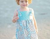 Amy Butler Knot Dress -  Sizes 3m, 6m, 12m, 18m, 24m, 2t, 3t, 4t, 5t, 6, 7 & 8- Matching Doll dress available - 5littlemonkeysdesign
